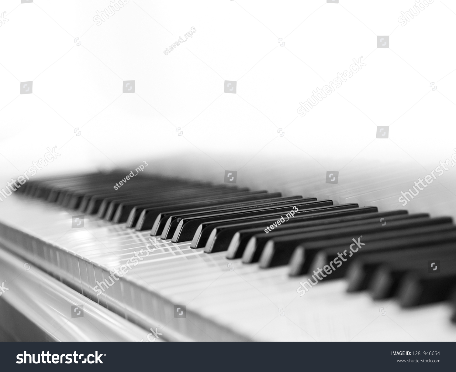 Piano Keys Side View Shallow Depth Stock Photo (Edit Now