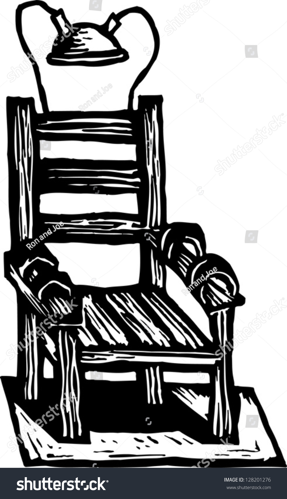 Black and white chair drawing - Black And White Vector Illustration Of An Electric Chair