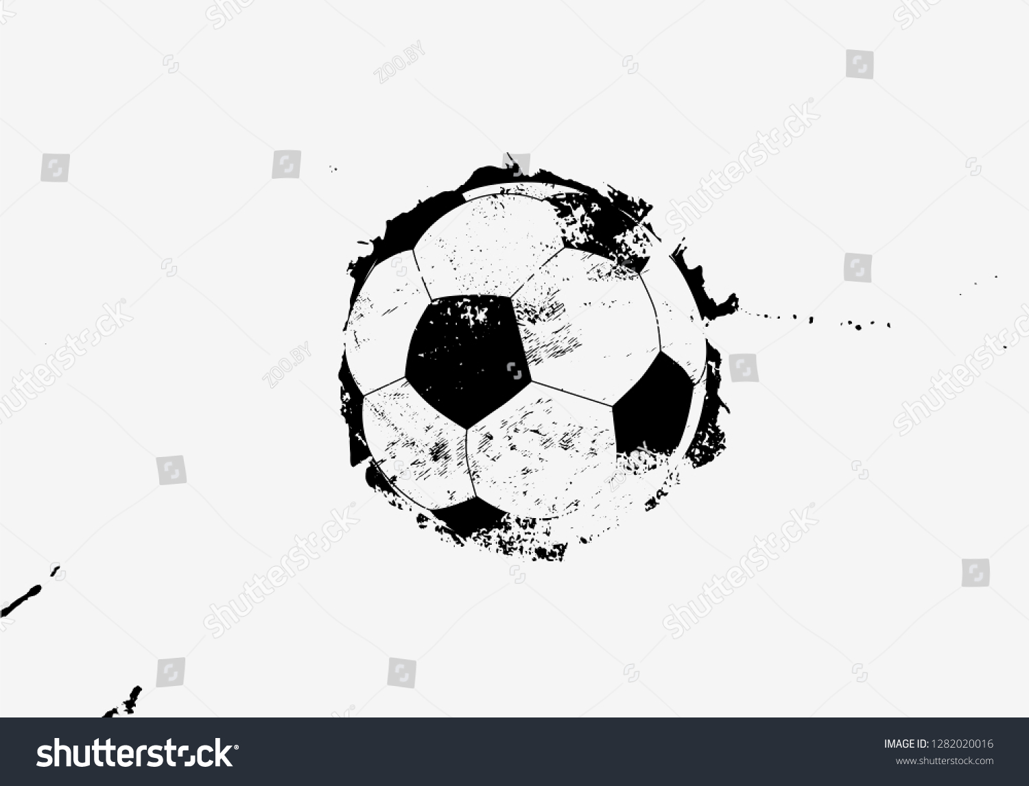 Soccer black and white typographical vintage grunge style poster retro vector illustration