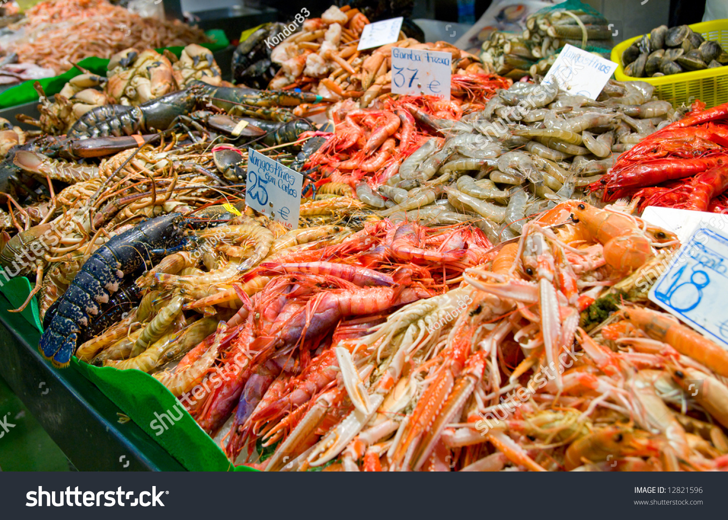 Great quantity fresh seafood on fish stock photo 12821596 for Seafood fish market