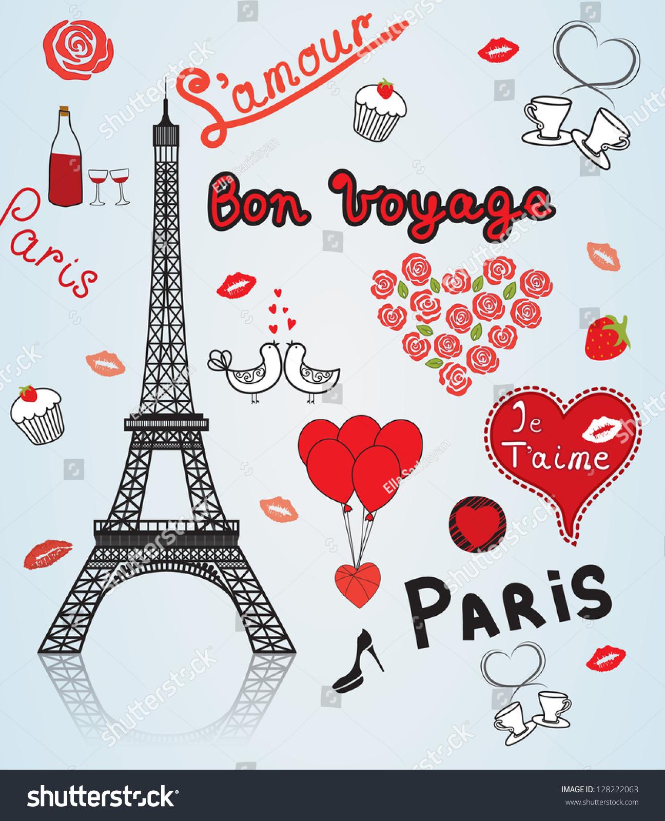 paris city of love stock vector illustration 128222063 shutterstock. Black Bedroom Furniture Sets. Home Design Ideas