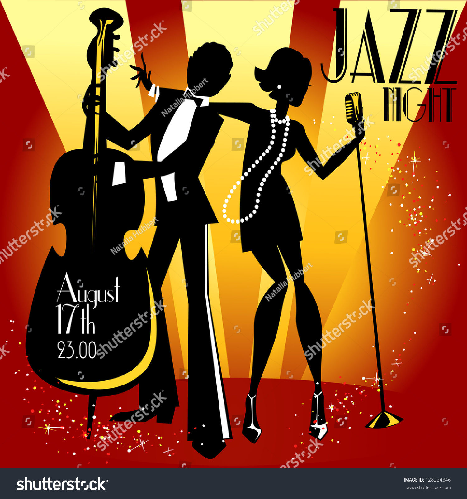 Abstract Jazz Band Jazz Music Party Stock Vector 128224346 ...