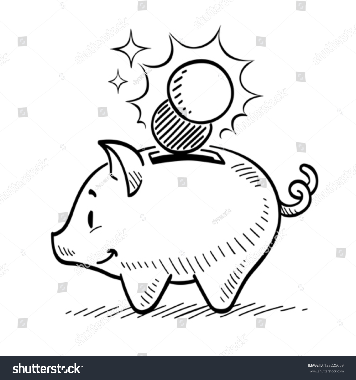 Line Drawing Piggy Bank : Piggy bank stock vector shutterstock