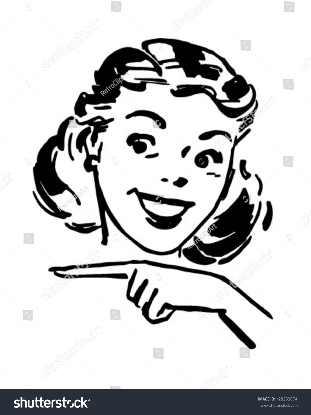 Cute Gal Pointing Retro Clipart Illustration Stock Vector ...