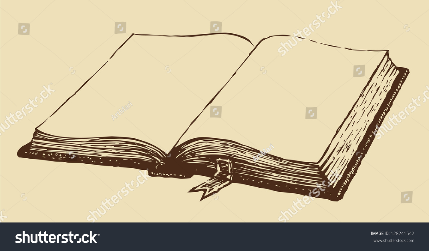 Open Book Cover Drawing : Vector drawing old open book bookmark stock