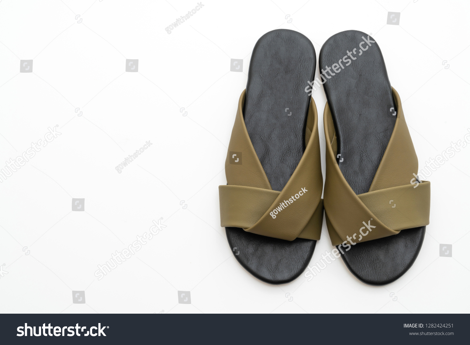 78f2ad3fc beautiful fashion female and woman leather sandals isolated on white  background