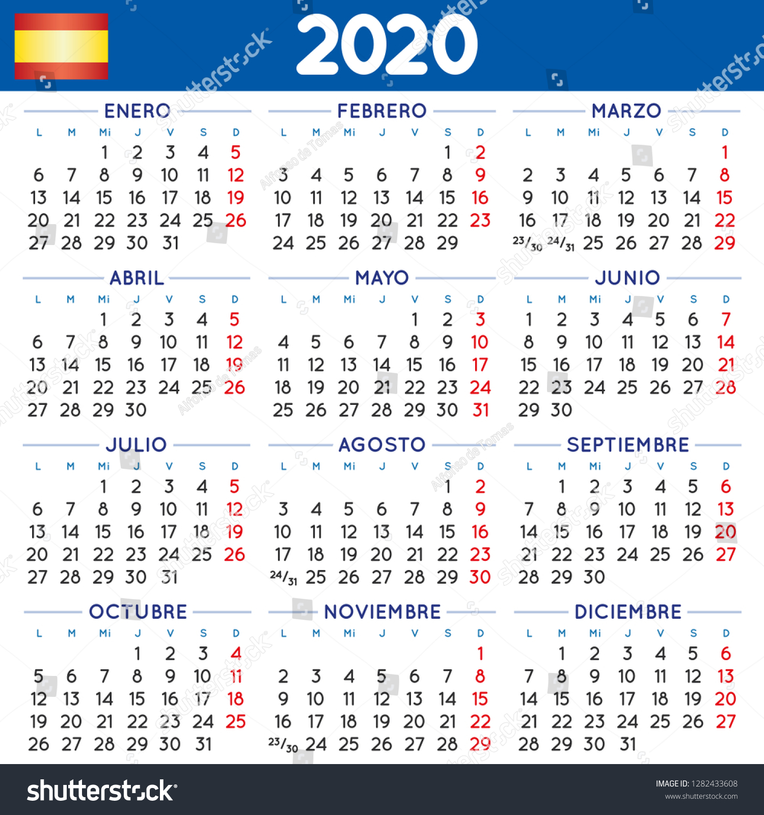 Calendario Marzo 2020.2020 Elegant Squared Calendar Spanish Year Stock Vector