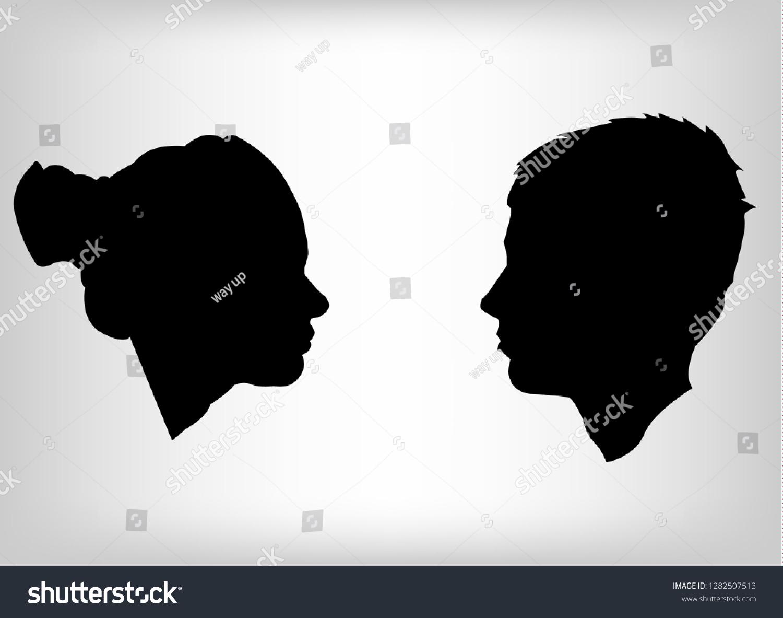 Man Woman Face Silhouette Face Face Stock Vector Royalty Free 1282507513