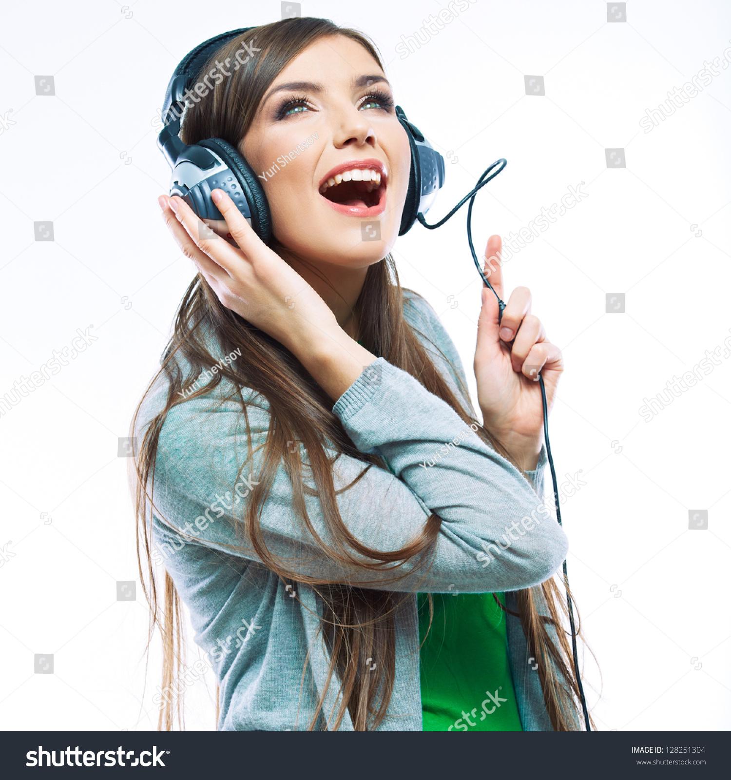 woman headphones listening music music teenager stock