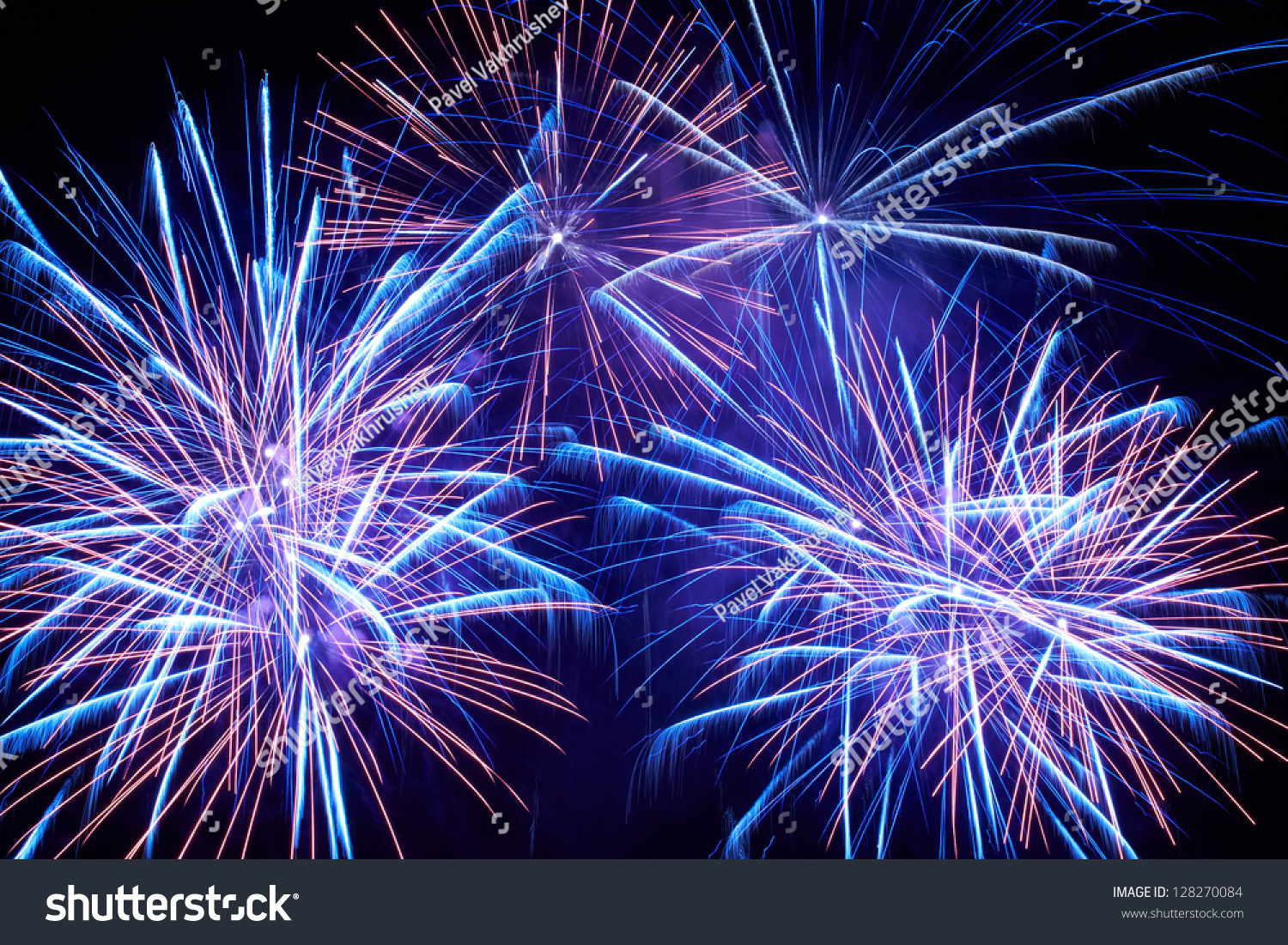 Wallpaper Salute Sky Holiday Colorful 3376x4220: Blue Colorful Fireworks On Black Sky Stock Photo 128270084