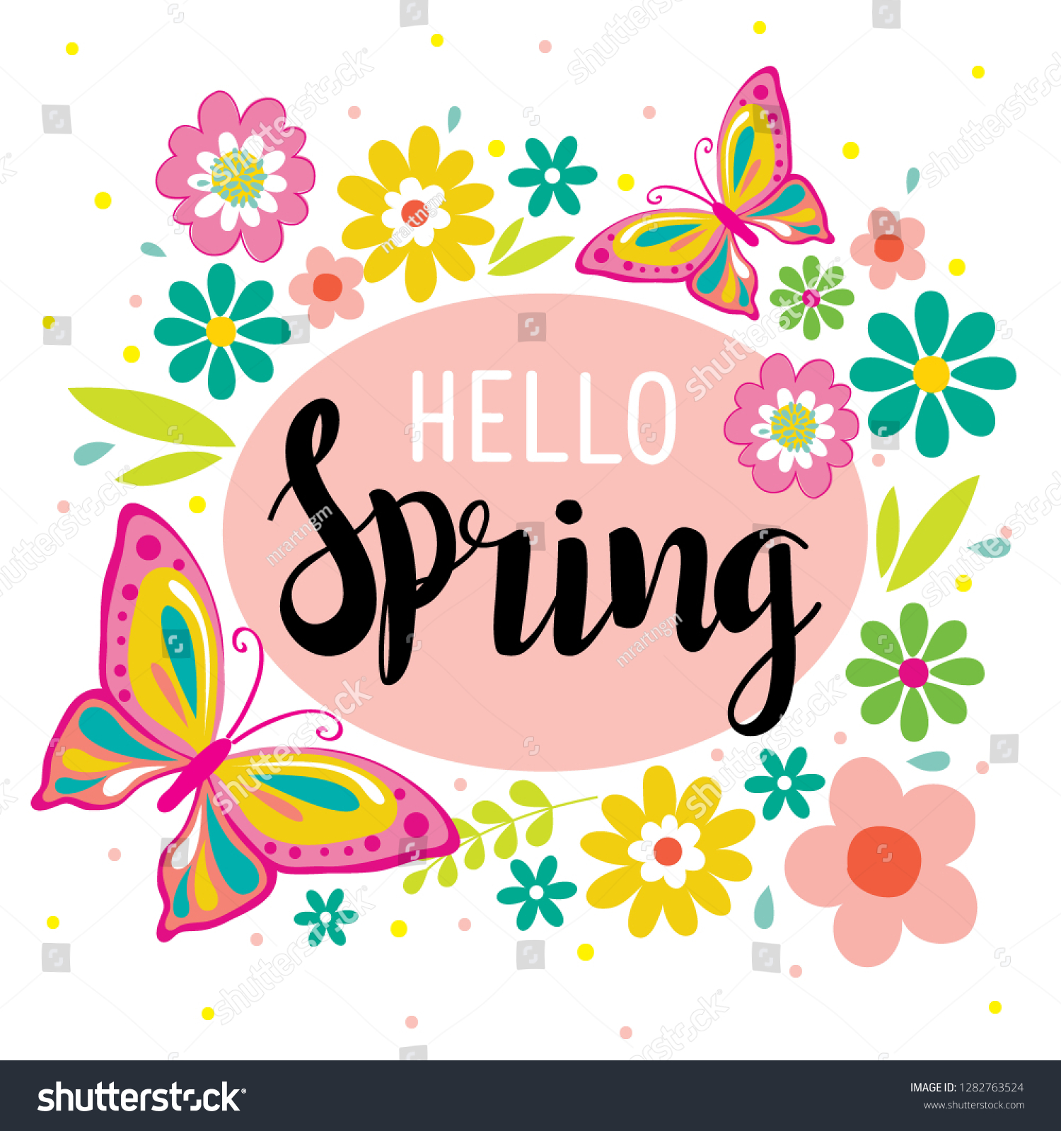 Hello Spring Cute Flowers Butterfly Vector Stock Vector Royalty Free 1282763524