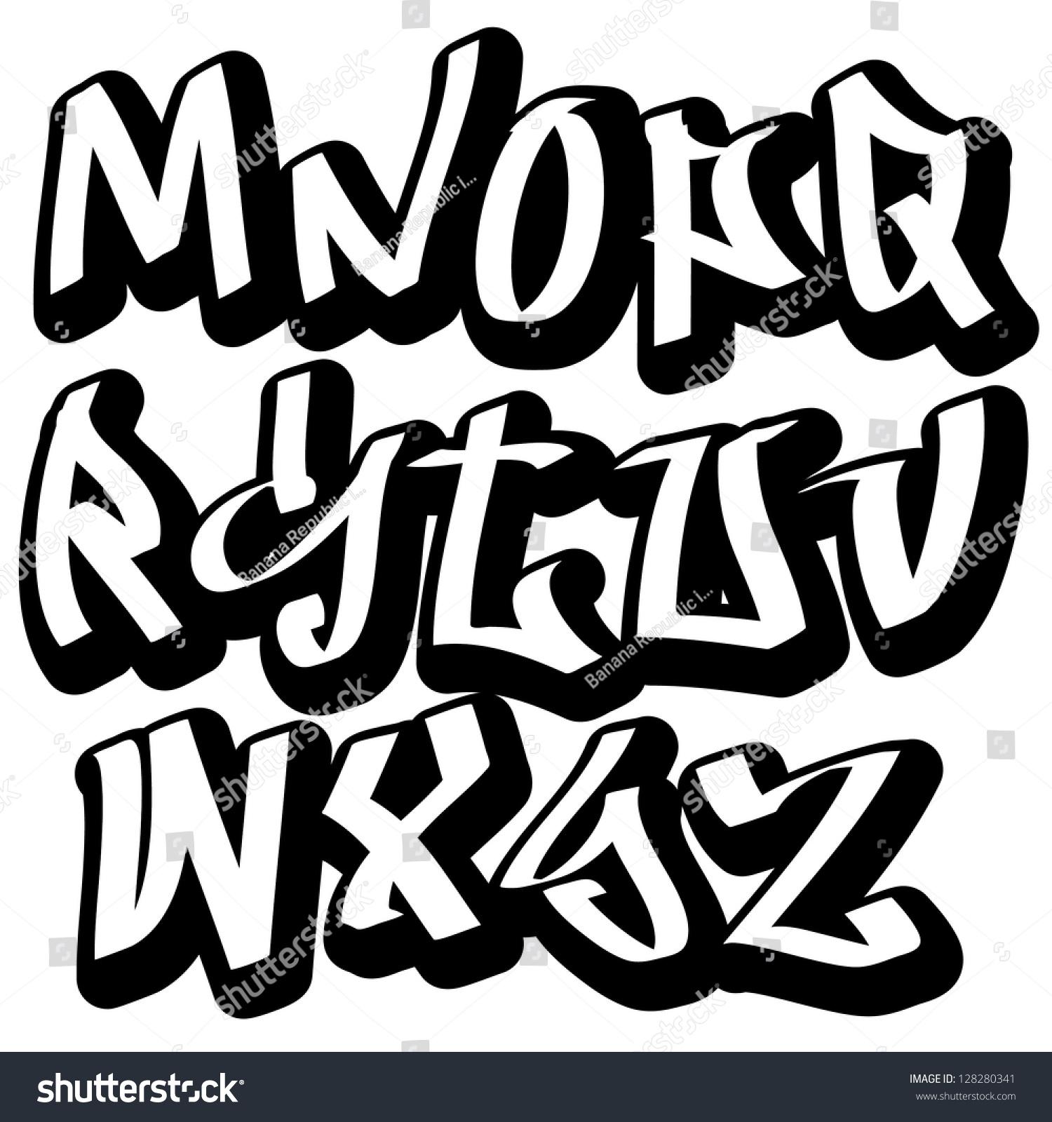 Abstract Modern Urban Alphabet Font: Graffiti Font Alphabet Letters Hip Hop Stock Vector