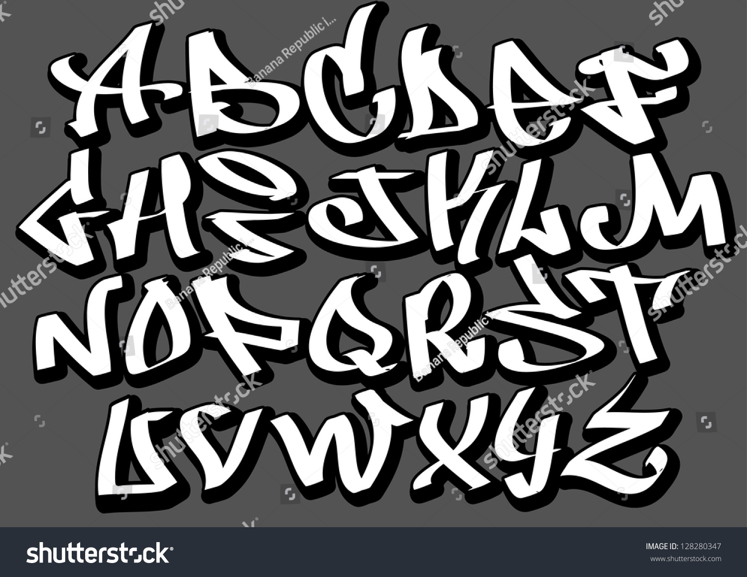 graffiti font alphabet letters hip hop stock vector 128280347 shutterstock. Black Bedroom Furniture Sets. Home Design Ideas
