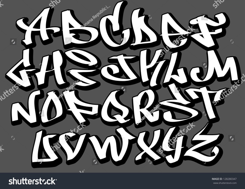 Graffiti Font Alphabet Letters Hip Hop 128280347