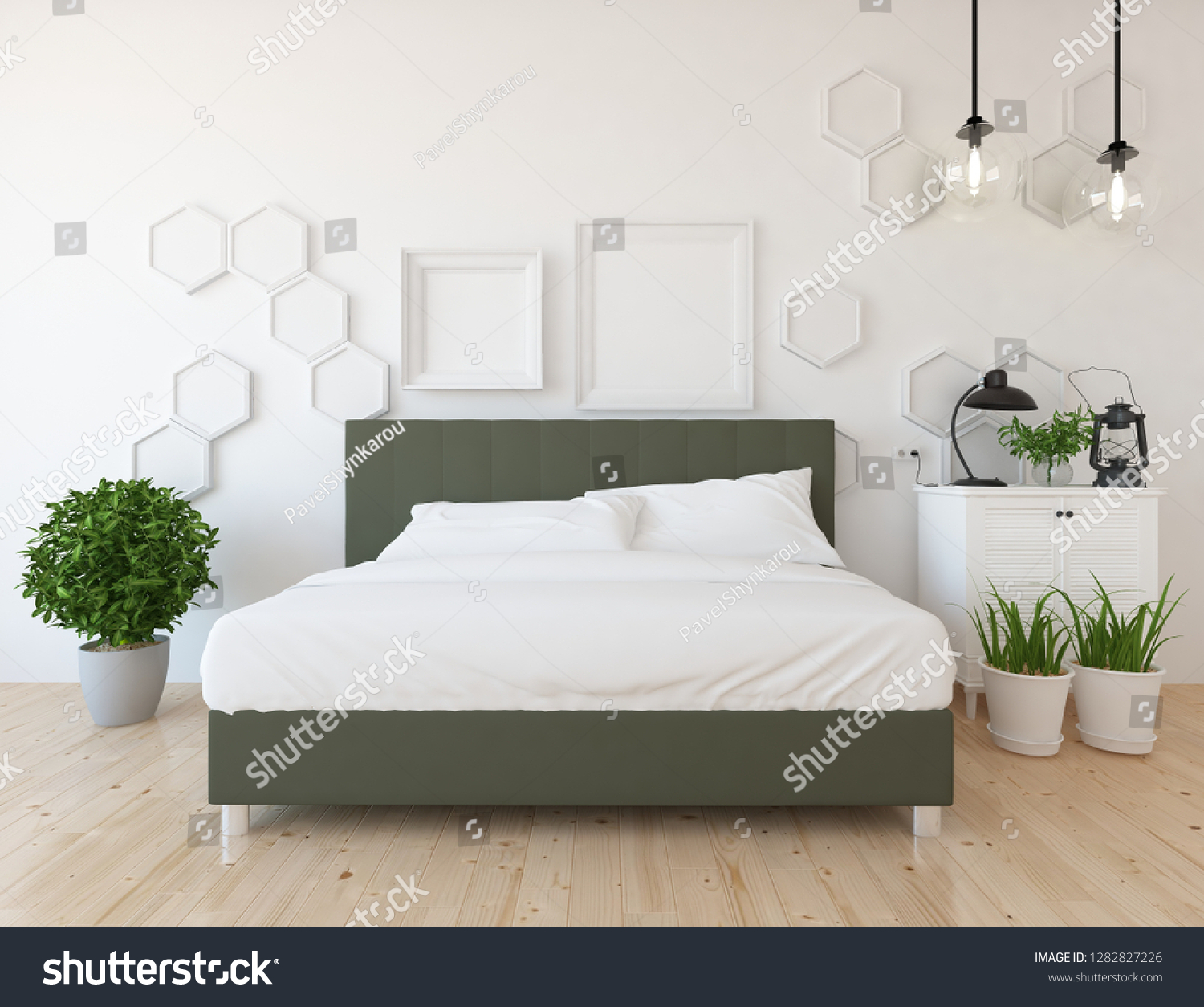 Idea White Scandinavian Bedroom Interior Double Stock Illustration 1282827226