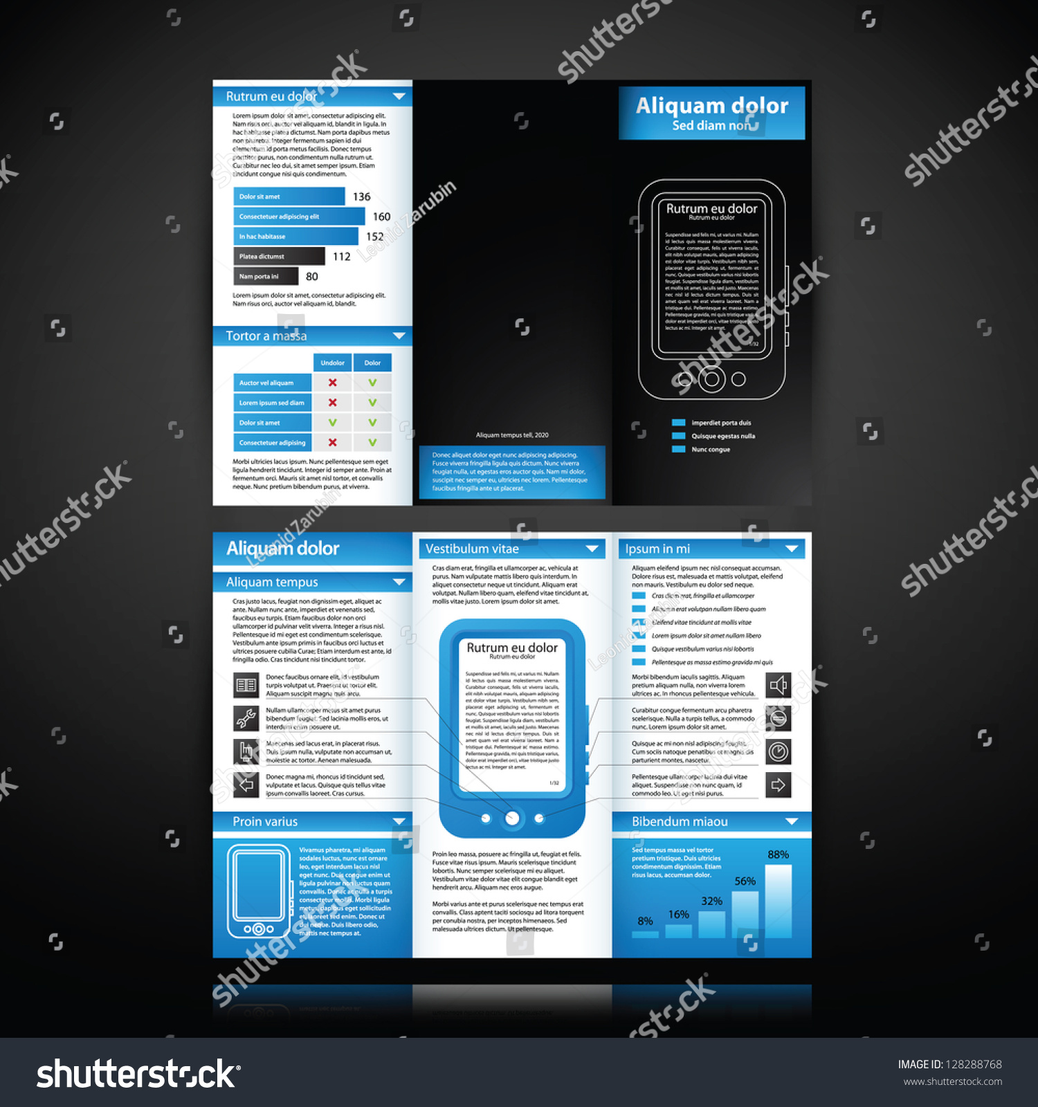 instruction leaflet template - blue colored brochure template with tablet pc illustration