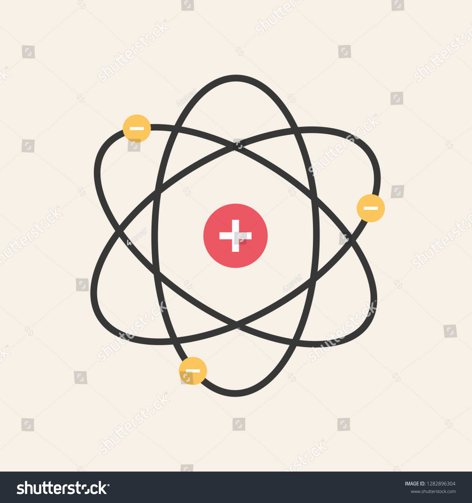 Icon Structure Nucleus Atom Atom Protons Stock Vector
