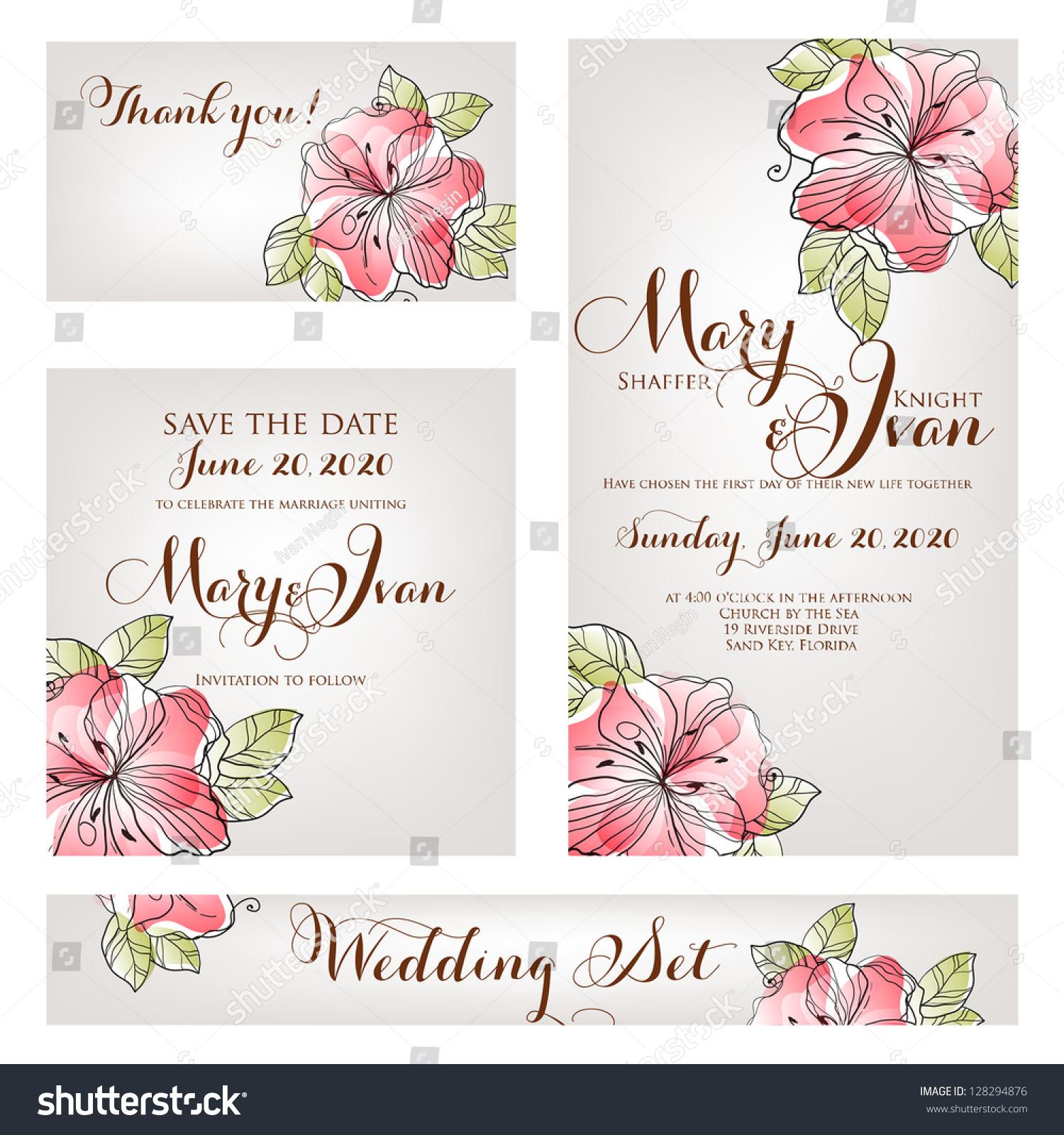 Wedding Invitation Thank You Card Save Vector 128294876 – Wedding Stationery Thank You Cards