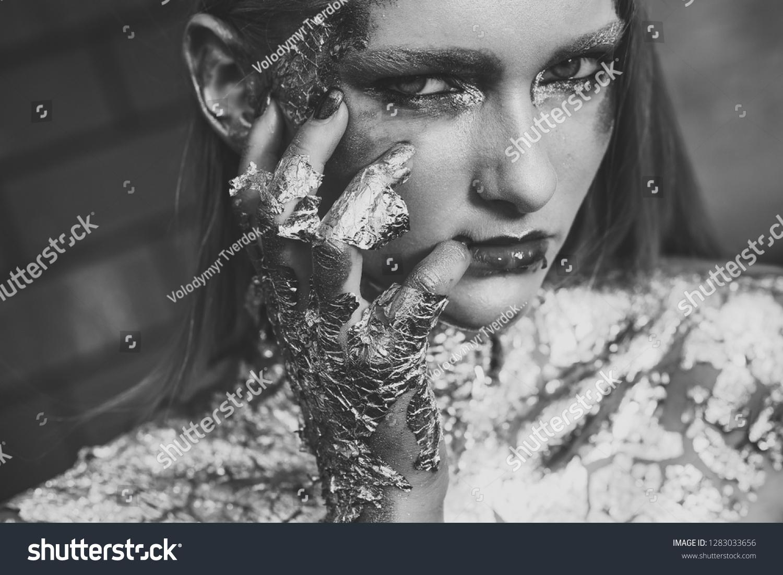 Woman Fantasy Makeup Creative Body Art Stock Photo Edit Now 1283033656