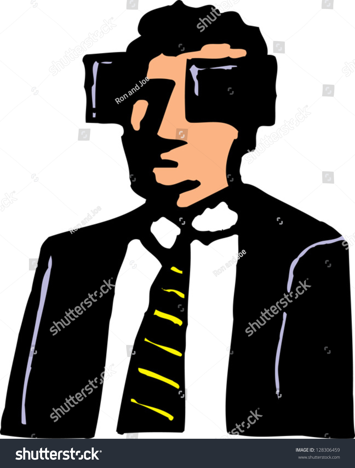 Vector Illustration Man Wearing Blinders Stock Vector