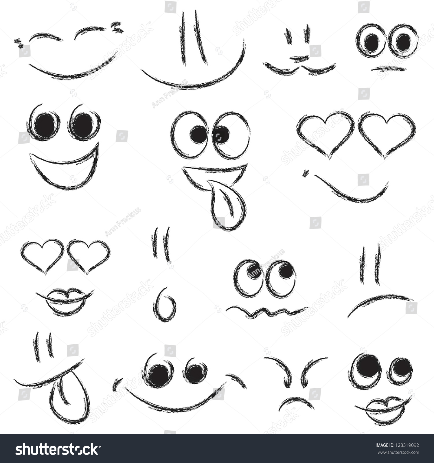 sketches smiley faces stock vector royalty free 128319092
