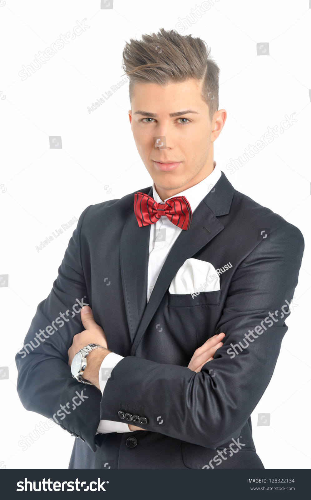Portrait Young Male Model Red Bow Stock Photo 128322134 - Shutterstock