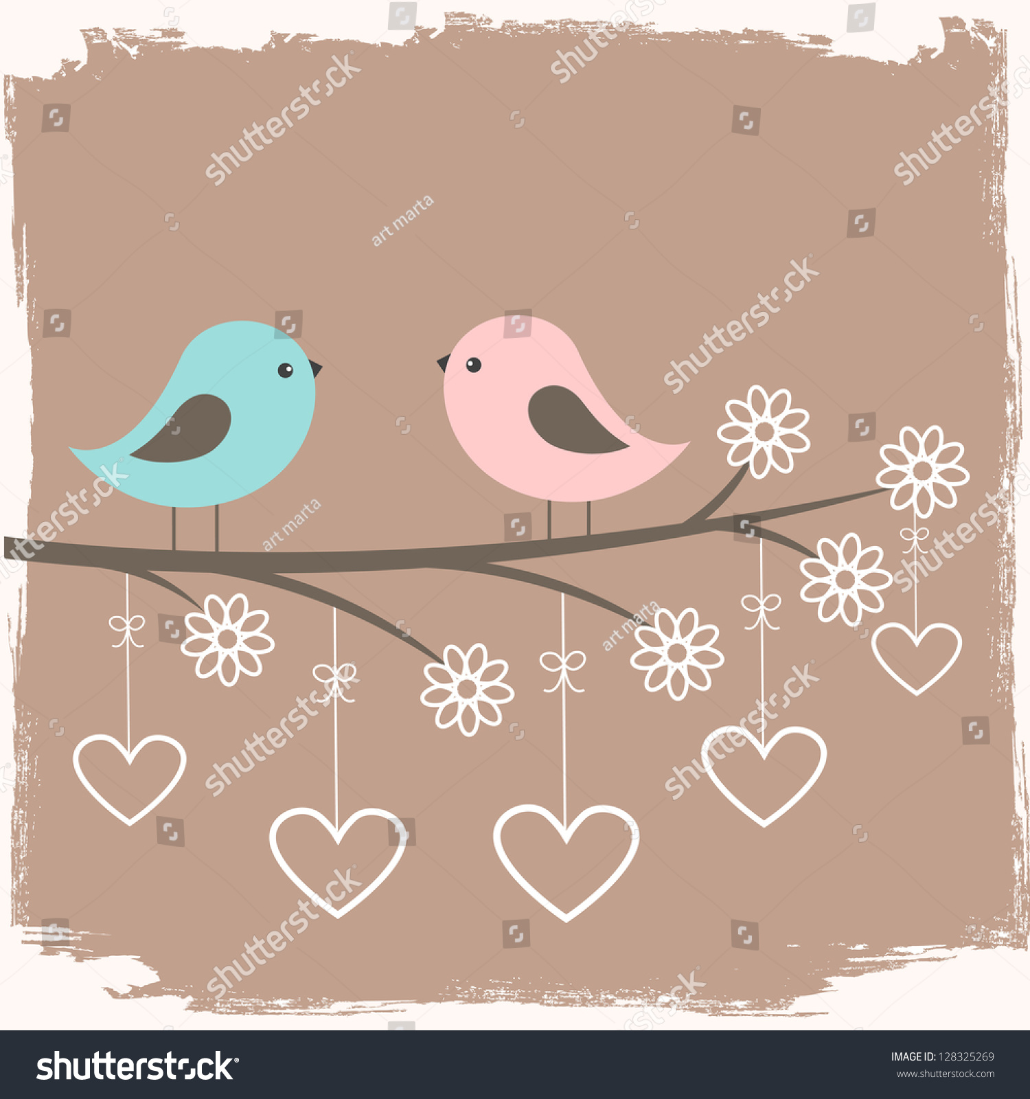 Couple Cute Birds Card Valentine Day Vector 128325269 – Bird Valentine Card