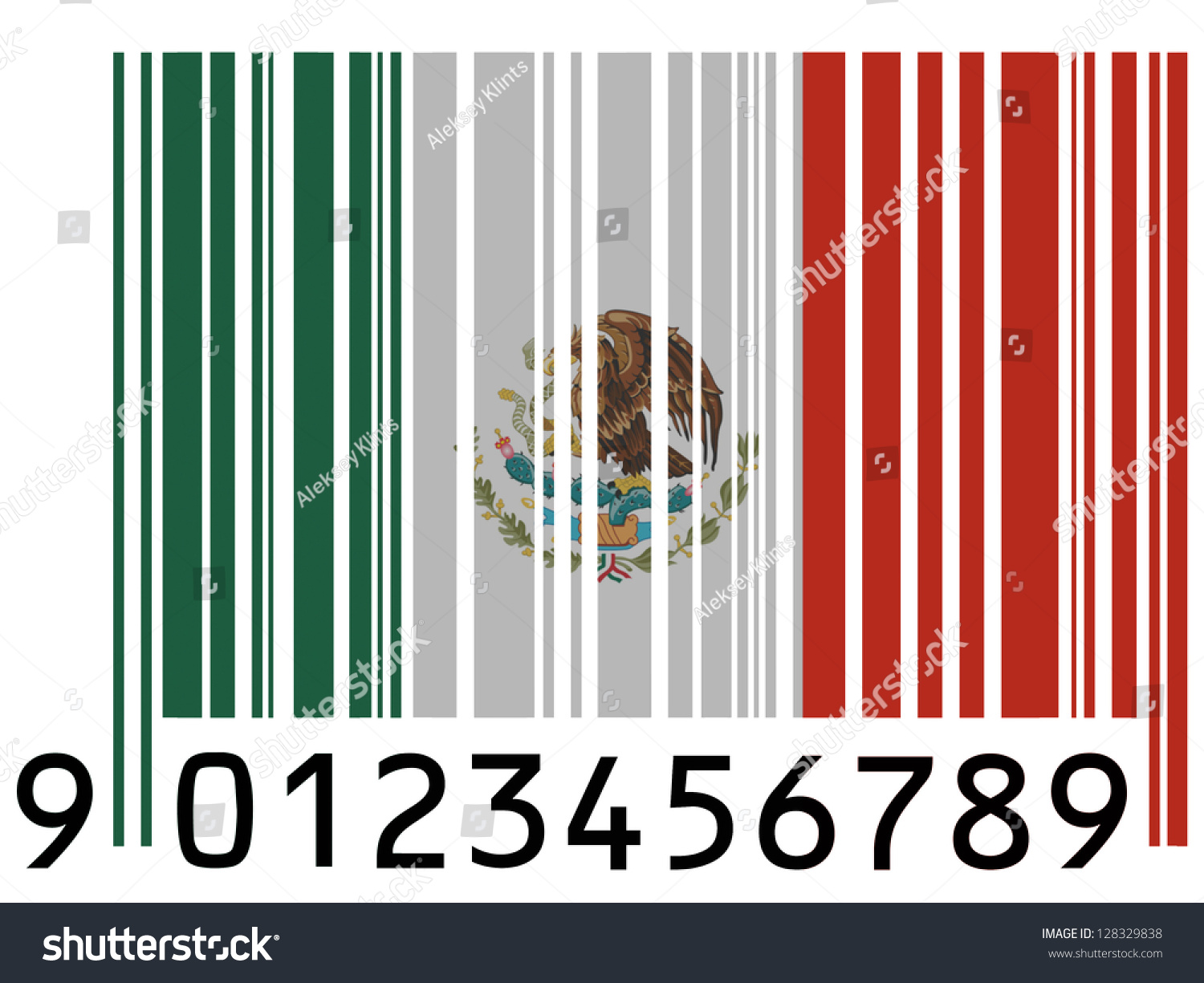 mexico mexican flag painted on barcode stock illustration