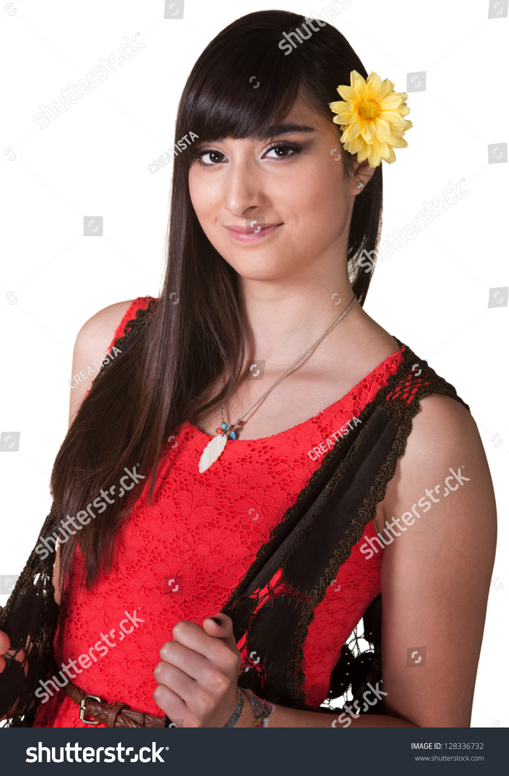 Cute Latina Yellow Flower Hair Over Stock Photo Edit Now 128336732