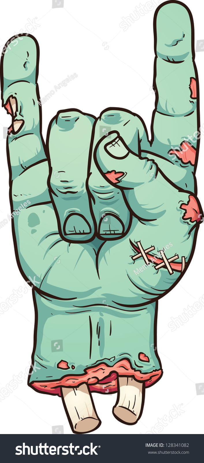 Severed zombie hand making rock sign stock vector - Clipart illustration ...