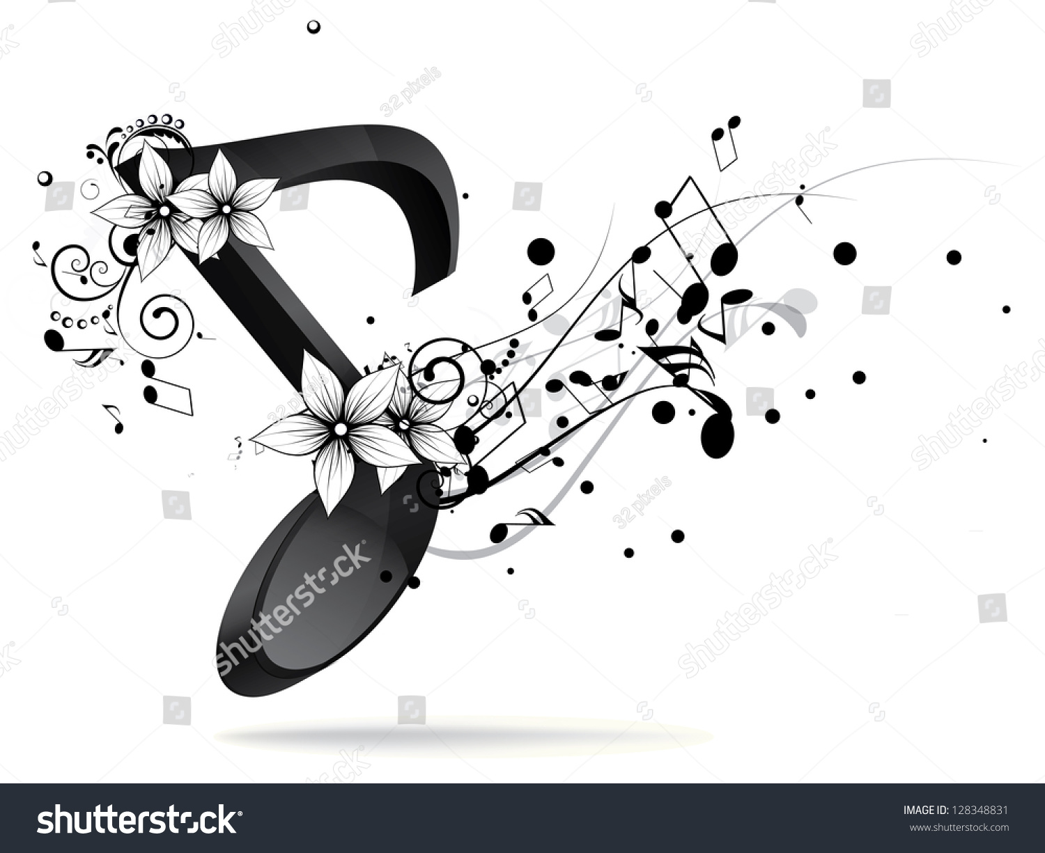 Abstract Design Background With Colorful Music Notes Stock ...