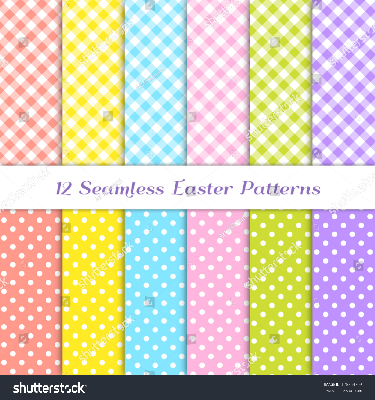 gingham polka dot patterns 6 easter stock vector 128354309