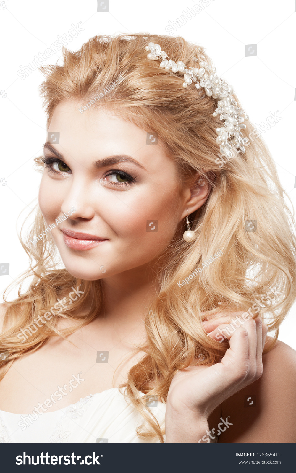 Beautiful Blonde Bride Beauty Wedding Coiffure Stock Photo Edit Now