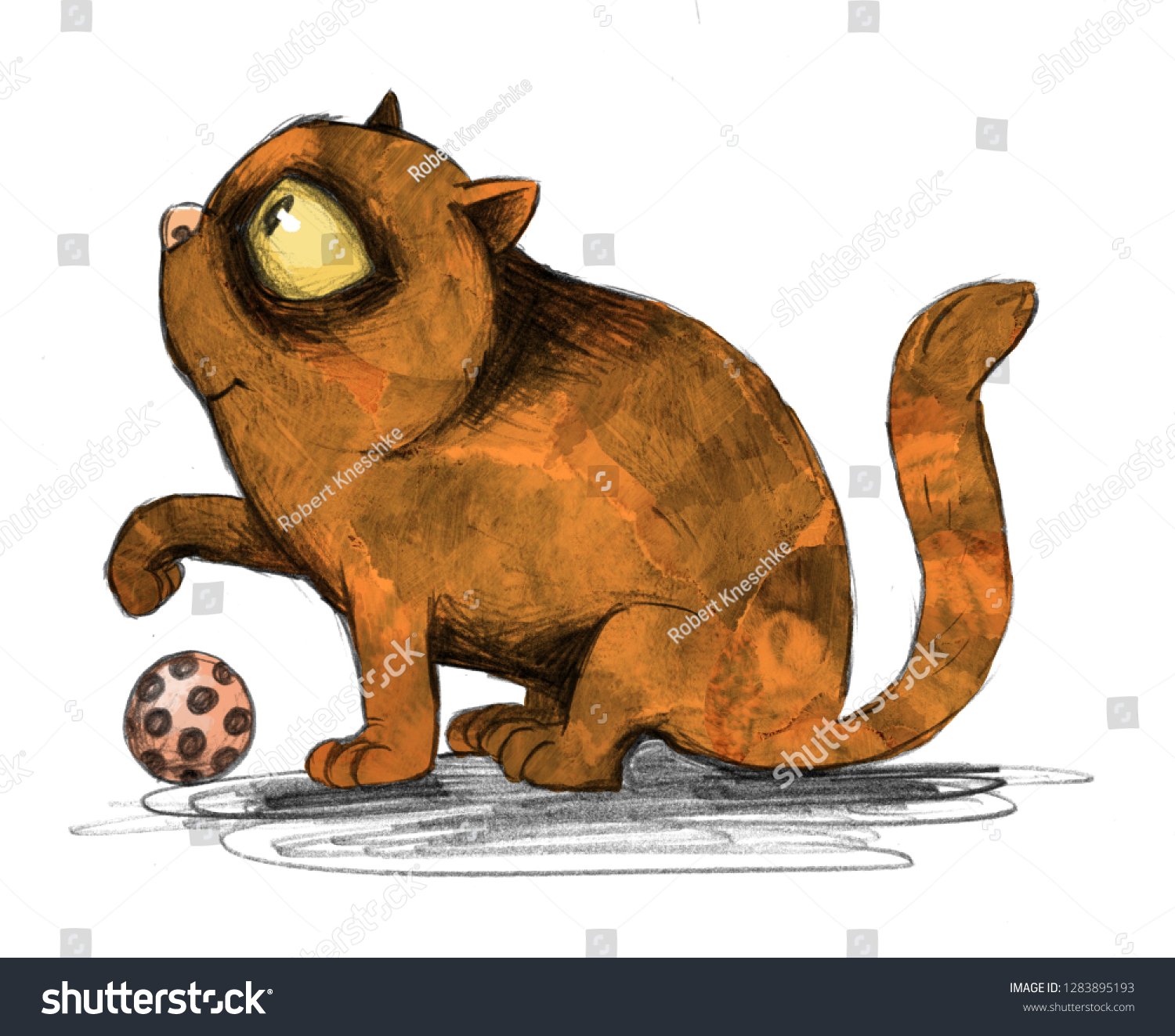Cute Cartoon Cat Kitten Profile Redbrown Stock Illustration 1283895193