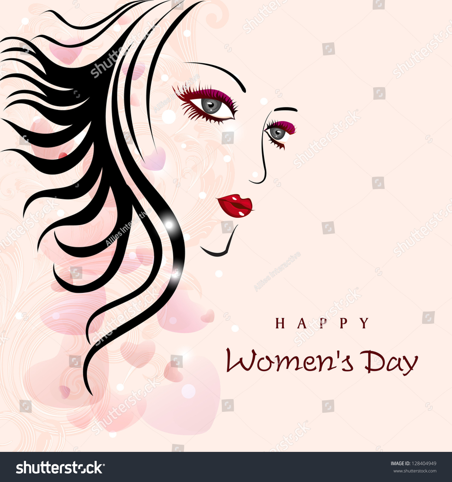 Sketch of a beautiful girl for happy womens day background
