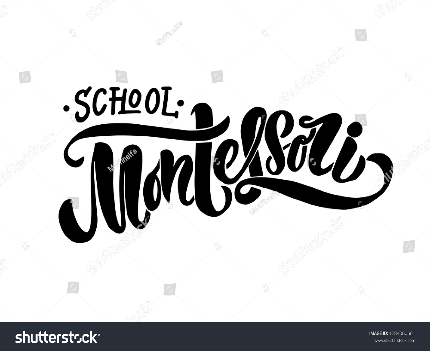 Montessori school creative vector concept black isolated on white background logotype handdrawn lettering vector