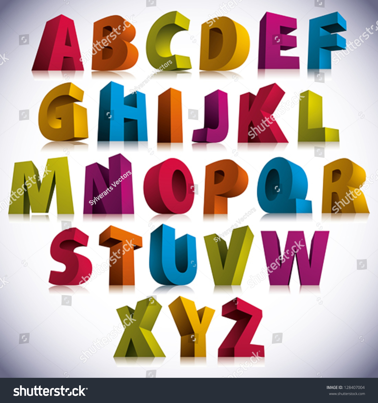 3d Font Big Colorful Letters Standing Stock Vector 128407004 ...