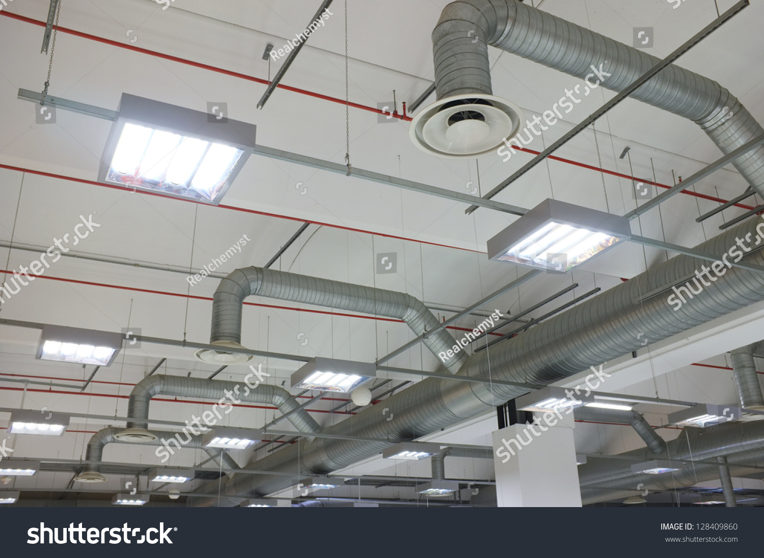 Industrial Air Conditioning System And Air Diffusers Stock Photo  #71443E