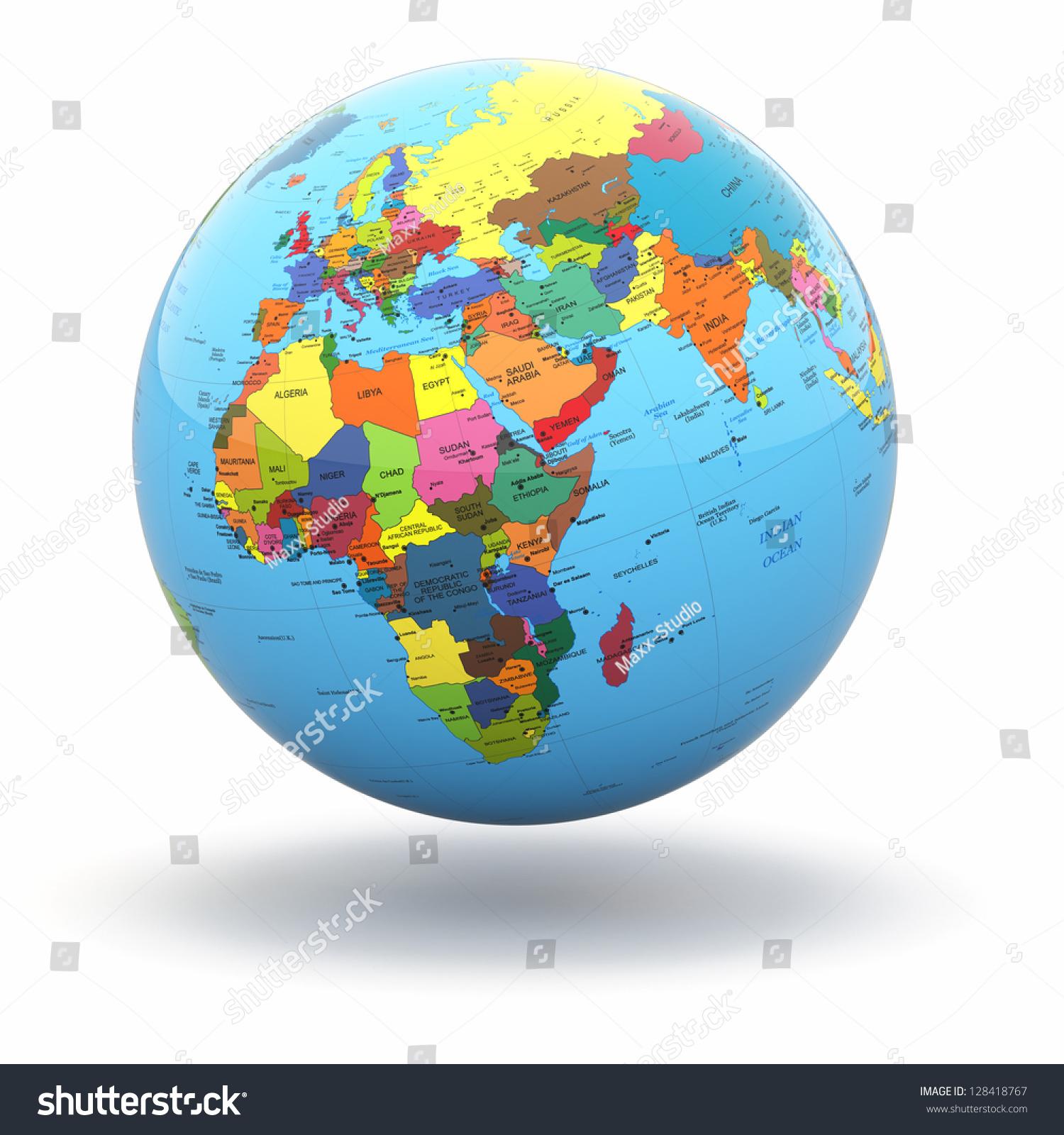 World: Political World Globe On White Isolated Stock Illustration