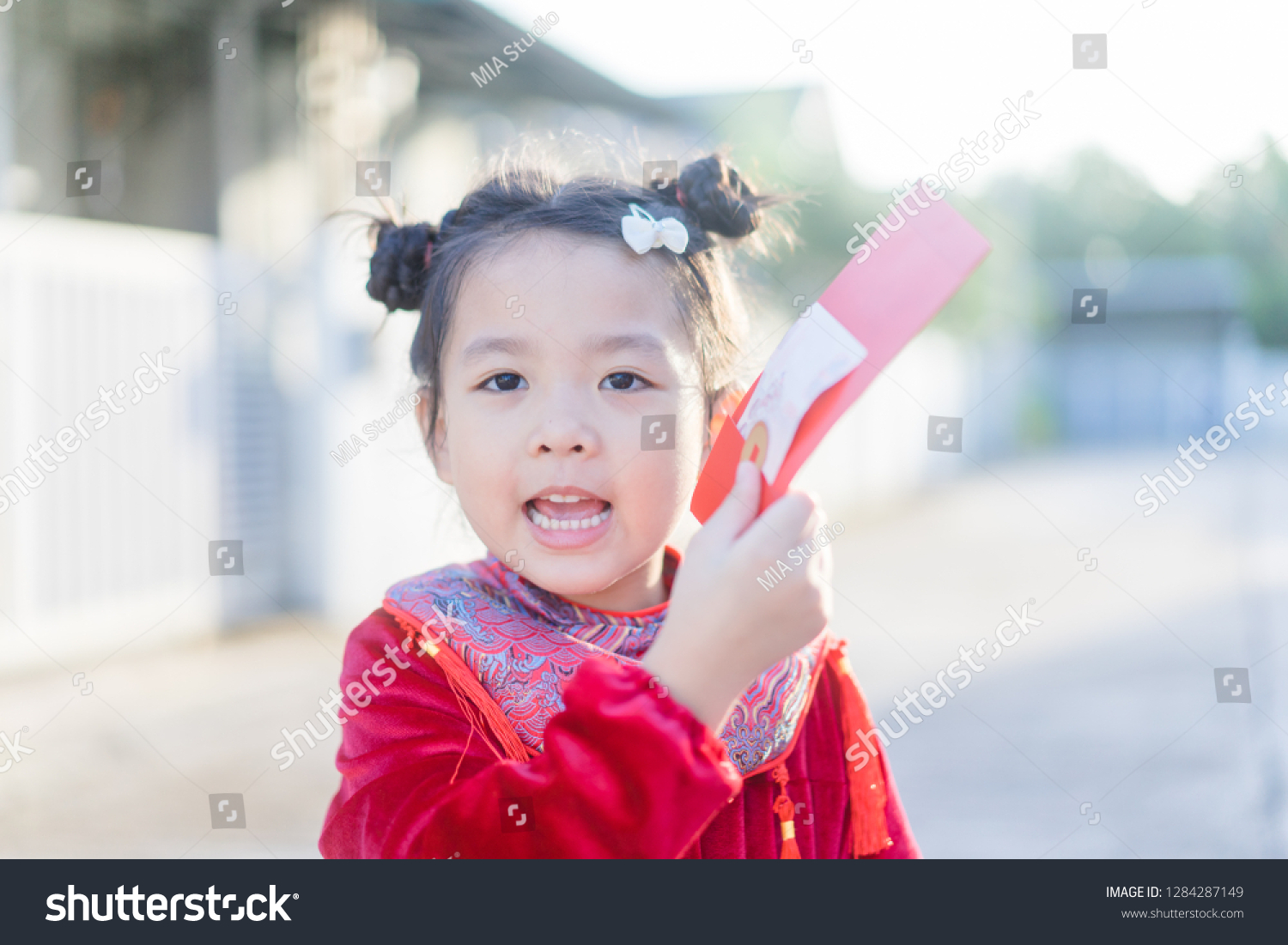 be01815dbe2e 4 years old asian chinese child girl.Happy Little asian girl in chinese  traditional dress