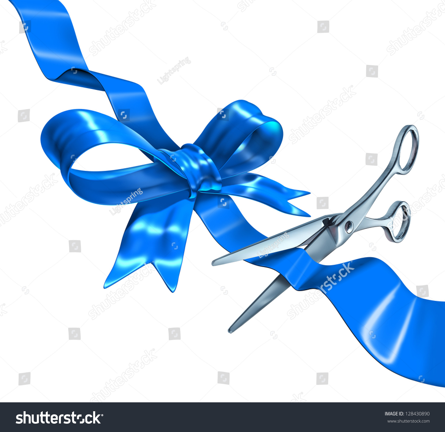 Blue Ribbon Cutting Business Concept Three Stock Illustration 128430890 Shutterstock