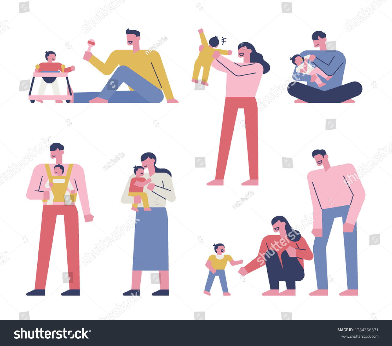 A set of baby and happy family look. flat design vector graphic style concept illustration.
