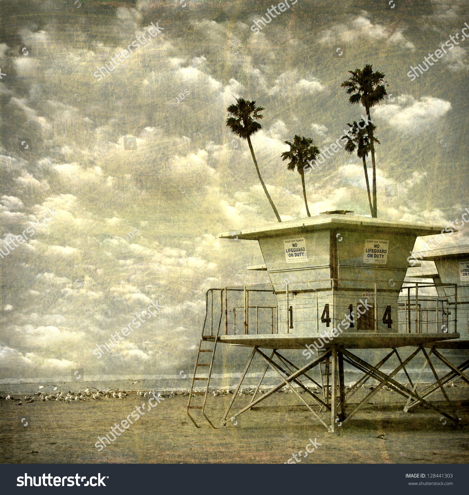 Aged And Worn Vintage Photo Of Lifeguard Towers On Beach
