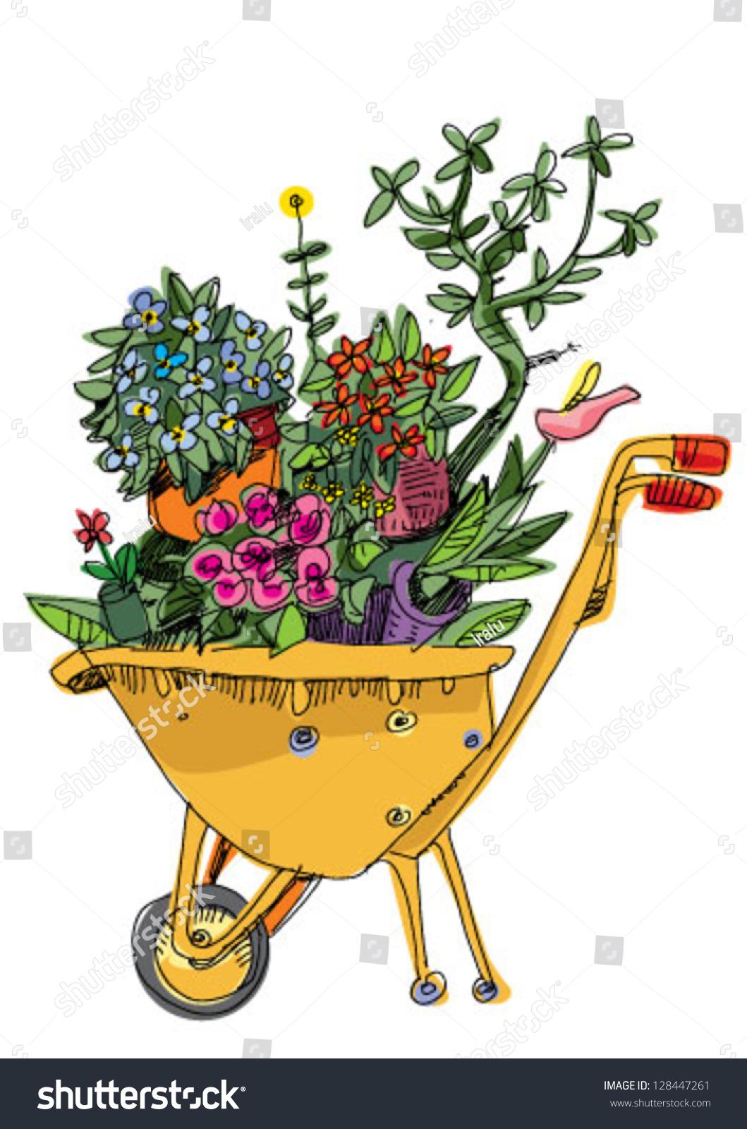 Wheelbarrow Flowers Cartoon Stock Vector 128447261