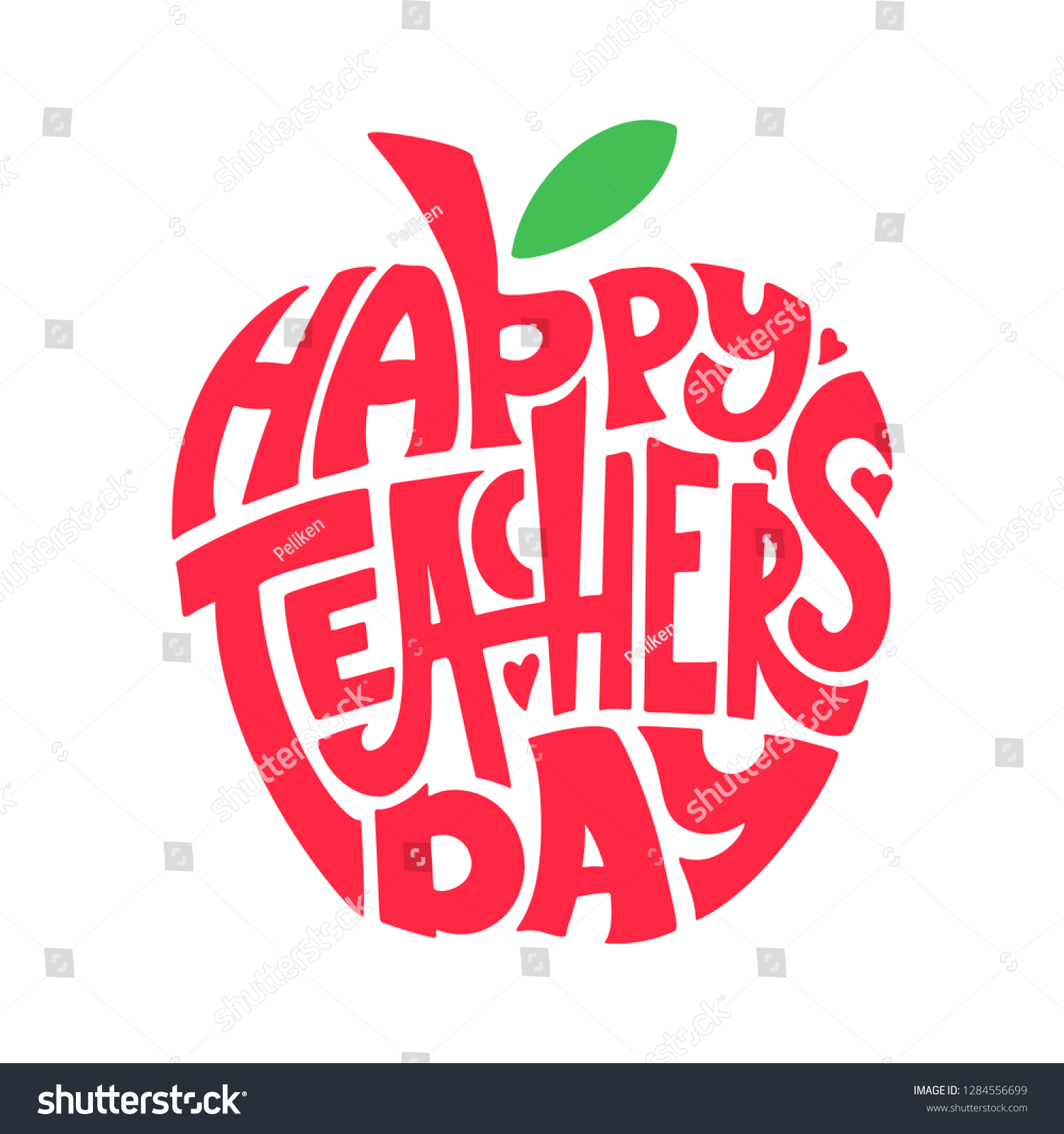 happy teachers day hand lettering quote stock image now