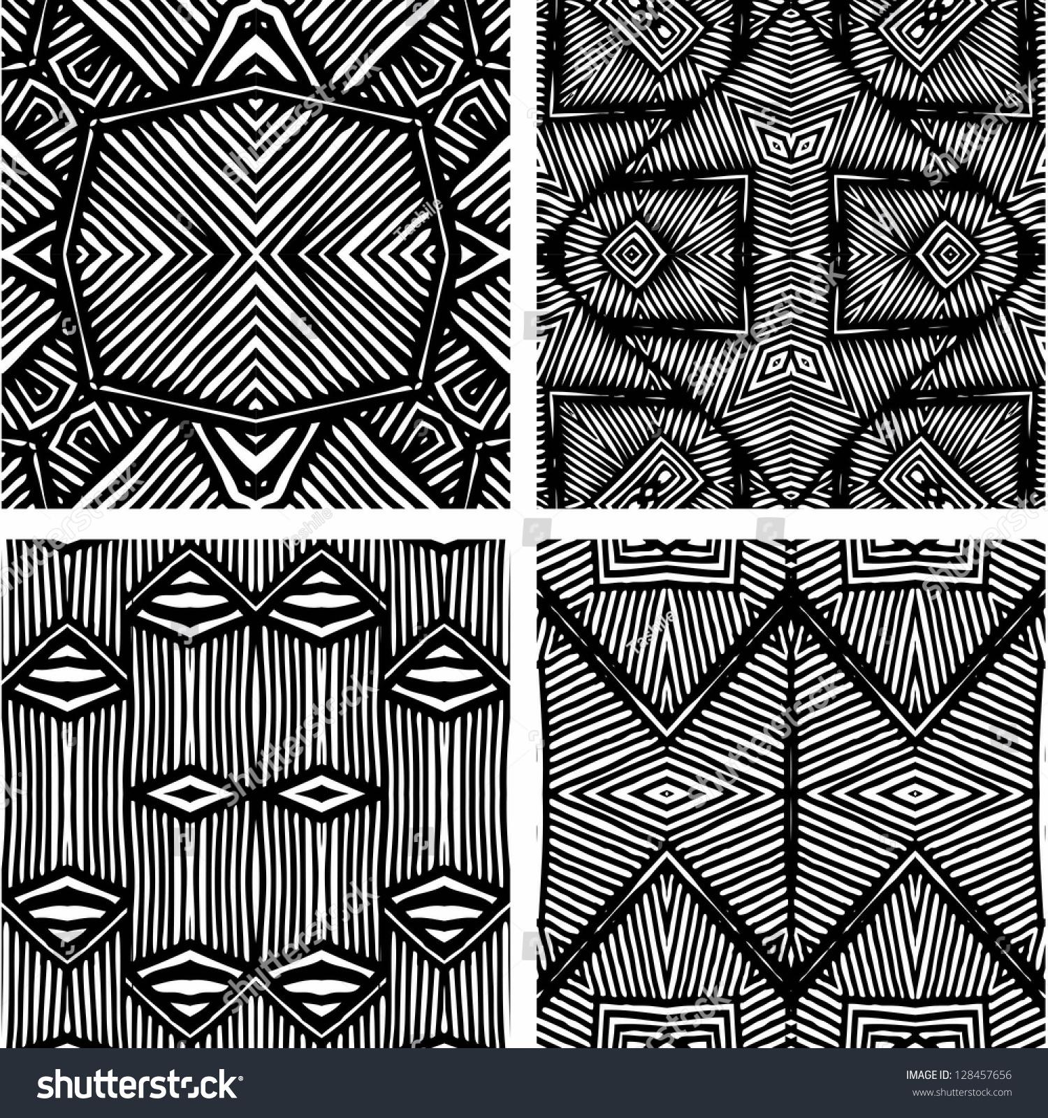 Set Four Black White African Patterns Stock Illustration ...