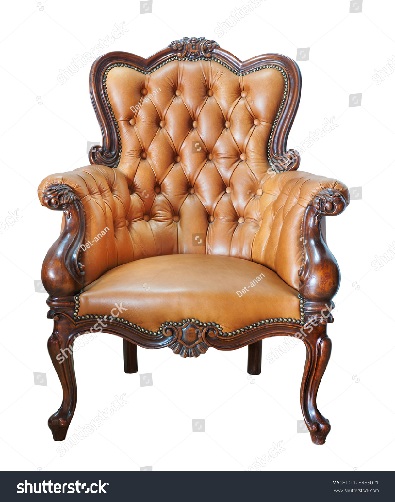 Vintage Leather Chair Isolated On White Stock Photo
