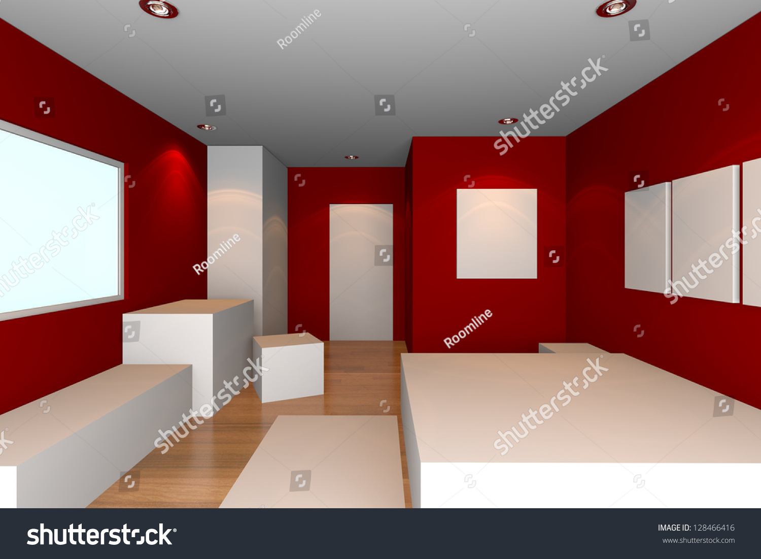mock up for minimalist bedroom with red wall and tile floor ideal for ineterior design. Black Bedroom Furniture Sets. Home Design Ideas