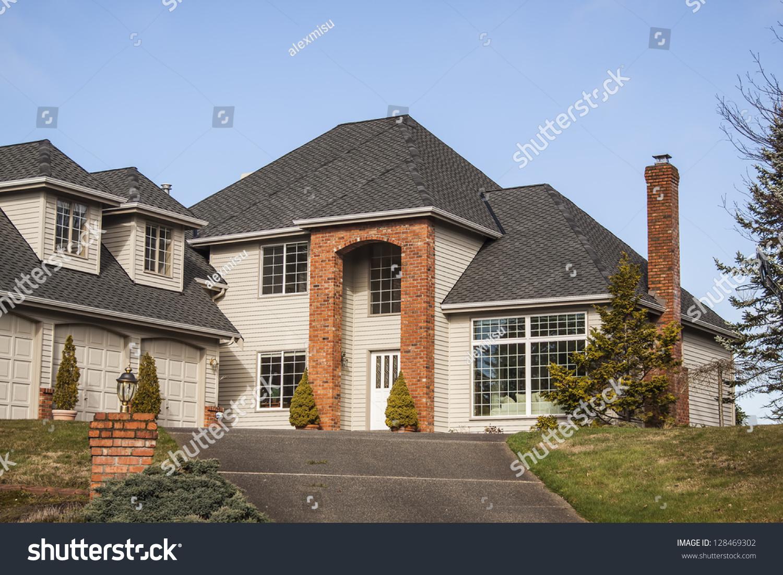 Modern Custom Built Luxury Home Residential Stock Photo