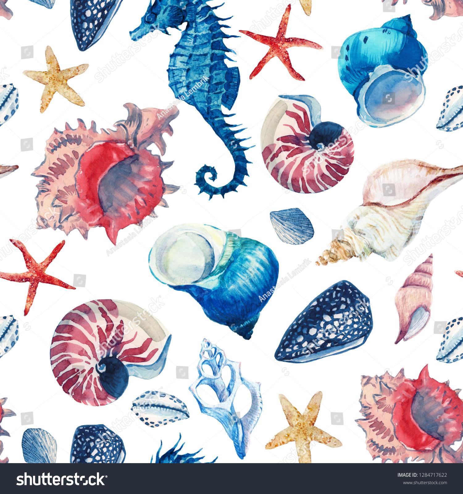 水彩海洋模様 貝の壁紙 ビーチプリント シーホース 赤ヒトデ の